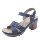 Frauen lässig einfarbig nähen Haspel Chunky Heel Streifen Sandalen