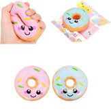 Sanqi Elan 10cm Squishy kawaii Smiling Face Donuts Charm Bread Kids Toys With Package