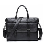 Mannen Business Casual PU lederen aktetas Messenger Bag Tablet Laptop Office schoudertas voor iPad