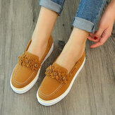 Femmes Suede Flower Comfy Doublure Simple Solide Casual Mocassins Chaussures