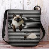 Women Felt Cute Cartoon Cat Stripes Pattern Multi-carry Crossbody Bag Shoulder Bag