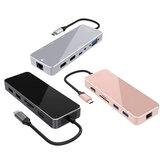 XDL-HC12 10 en 1 Type-C HUB de données avec 2 * USB 3.0 2 * USB 2.0 4K HD VGA RJ45 PD Charger TF Lecteur de carte SD pour tablette Macbook Notebook