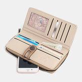 Kadınlar RFID Engelleme Toka Cüzdan Telefon Debriyaj Büyük Purse Etrafında Zip