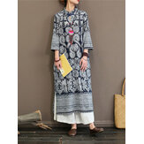 Women Vintage Print Stand Collar 3/4 Sleeve Dress with Pockets