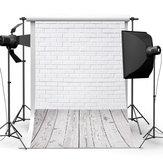 3x5FT parede de tijolo branco piso fotografia cenário estúdio prop fundo