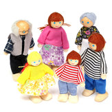 6PCS Wooden Family Members Dolls Set Kids Børn Toy Dollhouse Figurer Dressed Characters
