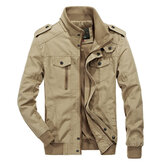 militar Epaulet Style Plus talla S-4XL Cotton Autumn Jacket