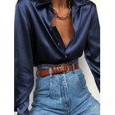 Women Basic Satin Button Lapel Comfy Loose Casual Long Sleeve Shirts