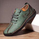Men Hand Stitching Microfiber Soft Sole Casual Leather Shoes