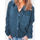 Women Corduroy Casual Solid Color Long Sleeve Shirts With Chest Pocket