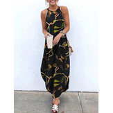 Butterfly Print Sleeveless Straps Irregular Hem Retro Maxi Dress