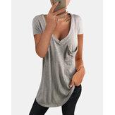 T-shirt casual da taschino a manica corta scollo a V tinta unita per donna
