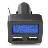 Cargador de Coche de Interfaz de Doble USB Universal de 12V 24V Con Pantalla LCD de Voltímetro Amperímetro Termómetro