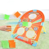 4 Holes Kids Collapsible Throwing Sandbag Toss Board Golf Cornhole Chipping Game with 6 Sandbags for Kids Toddlers