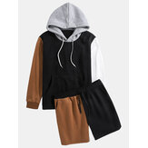 Mens Patchwork Kangaroo Pocket Hoodies Elastic Waist Drawstring Shorts Design Two Piece Outfits