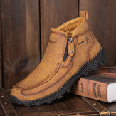 Men Outdoor Hand Stitching Non Slip Soft Sole Side Zipper Ankle Boots