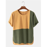 Hombres Patchwork Casual Crew Cuello Color Block Camisetas transpirables