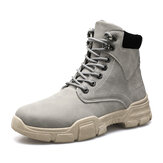 Men Stylish Sport Microfiber Leather Lace Up Casual Ankle Boots