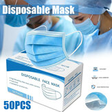 50Pcs Mask Disposable Nonwove 3 Layer Ply Filter Mask Mouth Face Breathable Dust Mask