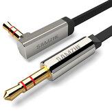 SAMZHE 3,5 mm AUX Câble Câble Audio 90 Degré Audio Câble Plat Stéréo Plaqué Or pour Casque Écouteur