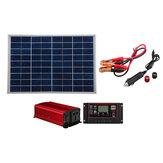 Solar Panel Power System Complete Kit 18V 30W Solar Panel 60A Charger USB Controller 1000W Solar Inverter