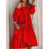 Off Shoulder Pleating Ruffles Solid Color Holiday Casual Layered Dress για γυναίκες