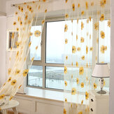 Honana WX-C4 1x2m Sun Flower Voile Curtain Transparent Panneau Window Divider Sheer Curtain Home Decor
