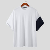 Splicing Round Neck Short-Sleeved Tops Whale Print Casual T-Shirt Breathable And Comfortable Men's Tops