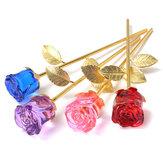 RegalosdeSanValentínconadornos florales en forma de rosas de cristal de oro con Caja decoraciones para el hogar