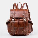 حقيبة ظهر مدرسية للرجال من الجلد الصناعي بتصميم ريترو اللون كبيرة يومية سعة