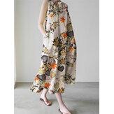 فستان ماكسي فضفاض بدون أكمام بطبعة زهور مع جيب جانبي