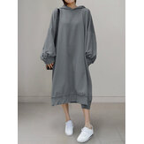 Loose Solid Color Puff Sleeve Hooded Sweatshirt Maxi Dress with Side Pockets