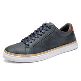 Menico Men Classic Skate Shoes Comfy Soft Sole Lace Up Leather Trainers