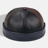 Collrown Unisex Piel sintética Patchwork Color Retro Color clásico Sin borde Beanie Landlord Sombrero Cráneo Sombrero
