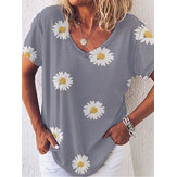 Casual V-neck Daisy Print Loose Short Sleeve Blouse For Women