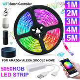 1M / 2M / 3M / 4M / 5M WiFi Smart RGB LED Strip Light APP Control Lampe flexible Fonctionne avec Amazon Alexa Google Home DC5V