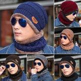 Heren Dames Buitensporten Fietsmuts Winter Warm Gebreide Baggy Muts Cap Sjaal Set