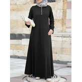 Women Solid Color Button Front Round Neck Long Sleeve A-Line Maxi Dress With Pocket