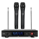 U12 Wireless Karaoke UHF Microphone System with Dual Handheld Wireless Microphone