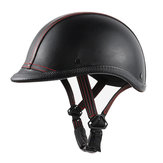 BYB Universal Unisex Motorcycle Scooter Retro Vintage Leather Open Face Helmet