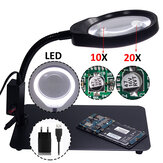 PD-032C 10/20X Magnifier Lamp Magnifying Glass with 48 Led Lights Metal Base USB Interface