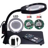 PD-032C Лупа 10/20X Лампа Лупа с 48 Светодиодные лампы металлическим основанием USB-интерфейс