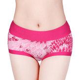 Femmes confortables motif feuilles taille moyenne hanches jusqu'à slips culottes respirantes