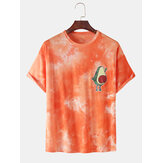 100% Cotton Tie-Dye Funny Avocado Print Short Sleeve Breathable T-Shirts