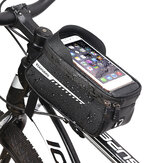 RZAHUAHU Rainproof Bicycle Front Frame Phone Bag,Mountain Road Bike Top Tube Bag,Riding Pannier Saddle Bag