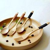 Holz2StückeLöffelUndGabel Geschirr Sets Besteck Sets Holzlöffel Gabel Umweltschutz Besteck Set Küche Werkzeuge