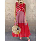Polka Dot Plaid Print Patchwork Sleeveless Maxi Dress