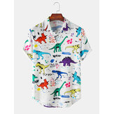 Mens Cartoon grappige Dinasour patroon casual shirts met korte mouwen