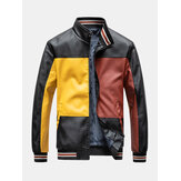 Mens Colorblock Patchwork PU Leather Zip Front Lapel Collar Thicken Jackets