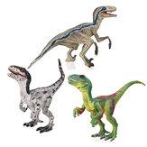 O dinossauro do Velociraptor brinca a figura modelo 133 verde cinzenta para crianças